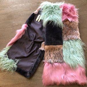 TOPSHOP NWT Zeus Faux Fur Patchwork Scarf Boho